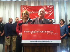 Gabrielle Giffords and her husband Mark Kelly stop in Manchester on Friday to make the case for stronger background checks for gun sales.