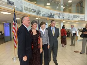 From left: James Brett of The New England Council, Nancy Kyle of Retail Merchants of N.H., Senator Jeanne Shaheen and Will Tagye of Velcro U.S.A joined at Grappone Toyota in Bow to discuss implementing clean energy in businesses throughout the country.