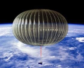 A rendering of a high-altitude balloon suspended over most of the Earth's atmosphere. That thing dangling from its underside is a telescope. (via The Atlantic)