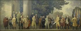"""Barry Faulkner's mural """"The Declaration"""" sits above the special case at the National Archives in Washington which houses the original copy of the Declaration of Independence."""