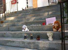 A memorial on the front steps of the Manchester YWCA last week for 9-year-old Joshua Savyon.