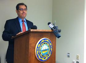 Dr. Jose Montero briefs reporters on the Hepatitis A investigation.