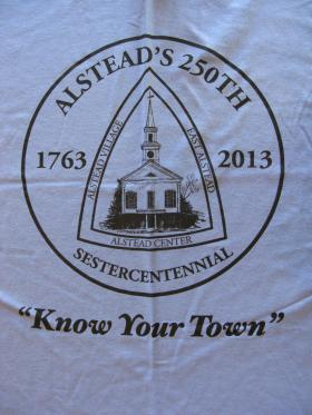 """Alstead's 250th anniversary shirt with the motto """"Know your Town"""""""