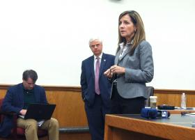 Anthem Blue Cross Blue Shield CEO Lisa Guertin answered questions in Concord on Wednesday.