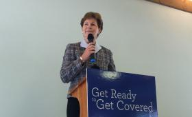 "Senator Shaheen speaking in Concord on Monday. She calls the law ""the single biggest advancement for women's health, really, in my lifetime."""