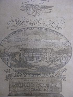 A drawing of the papermill of Alstead, the 2nd oldest in the state