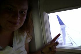 "Abby snaps a ""selfie"" as her journey to South Korea begins."
