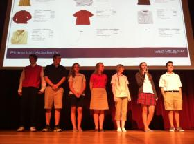 Students model the proposed unified dress code at Pinkerton Academy Thursday night.