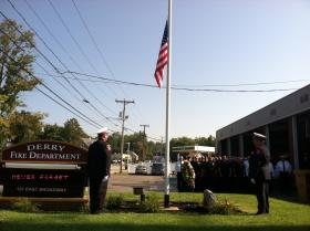 The Derry Fire Department holds its Sept. 11 memorial service in front of the town's central station Wednesday morning.