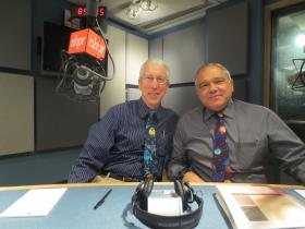 The Sky Guys showing off their astronomy ties.