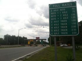 The toll booth at the Exit 11 ramp getting onto the F.E. Everett Turnpike heading south in Merrimack.