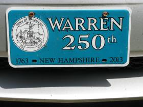 Special 250th license plate made for Warren, New Hampshire's 250th anniversary