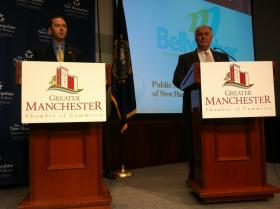 Manchester Alderman Patrick Arnold, left, and Mayor Ted Gatsas, right, face off in a debate last month.