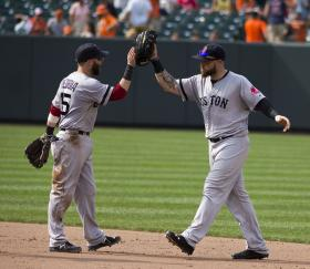Dustin Pedroia and Jonny Gomes exchange a bearded high five.