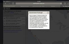 Here's what visitors to the USGS website are seeing during the shutdown.