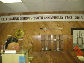 Banner at Lisbon Area Historical Society celebrating the town's 250th anniversary.