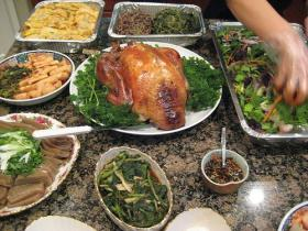 Thanksgiving: Korean Style. Turkey is still the star, but green bean casserole and yams are replaced by namul, fishcakes, and three different kinds of kimchi.