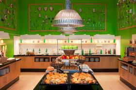 This breakfast buffet greets visitors at a Marriott property in Germany.
