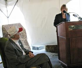 Gov. Maggie Hassan told Burton his service to the state was unmatched. Photo by Chris Jensen for NHPR