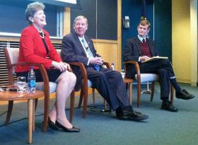 Senator Jeanne Shaheen is joined by Senator Johnny Isakson (R-GA) during a discussion in Concord moderated by Robert Bixby of The Concord Coalition.