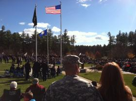 A soldier looks on at the Veterans Day ceremony at the State Veterans Cemetery in Boscawen.