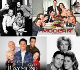 Sitcoms that explore the in-law relationship. Clockwise from top left: All In The Family, Modern Family, Bewitched, Everybody Loves Raymond