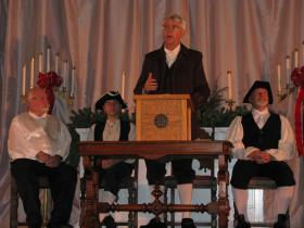 Candia resident Bob Claver player the role of Samuel Emerson at the town's 250th celebration