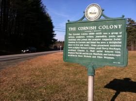 """A marker in Cornish marking """"The Cornish Colony."""""""