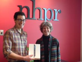 iPad winner Ruth Larson with Reporter Sam Evans-Brown