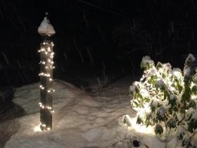 Heavy, wet snow began falling Sunday evening in parts of New Hampshire.