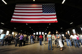 Homecoming ceremony for members of the N.H. National Guard's 197th Fires Brigade at the Manchester Armory, 8/29/11