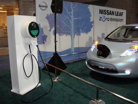a Nissan Leaf charging station, part of the infrastructure required when electric cars start popping up in a state like New Hampshire.