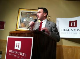 Andrew Hemingway announces his candidacy for governor in Manchester Thursday night.