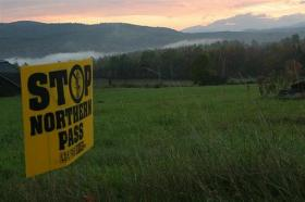Opponents of the Northern Pass transmission project strongly favored House Bill 569. Photo by Chris Jensen for NHPR