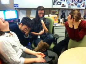 Team WOM weeps uncontrollably upon hearing the Wicked Weepy Playlist