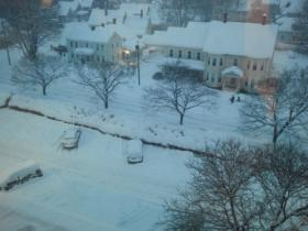 A view of the snow outside NHPR's studios.