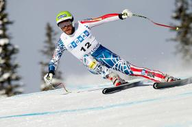 Bode Miller at the Audi FIS Alpine Ski World Cup Men's Downhill on November 27, 2010 in Lake Louise, Canada.