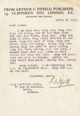 Gertrude Stein's now famous rejection letter