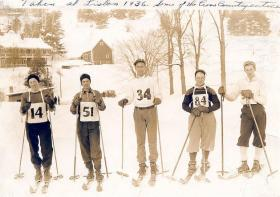 1936 Lisbon, N.H. Nordic ski team. Pam Crowley's father is on the far right.