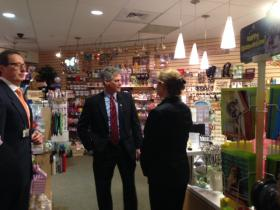 Frisbie Memorial Hospital CEO Al Felgar gives former Senator Scott Brown and his wife, Gail Huff, a tour of the hospital gift shop.