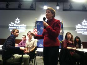 Sen. Jeanne Shaheen speaks with high school students at the New Hampshire Institute of Politics Tuesday morning.