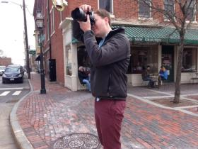 Jared Foley of Kittery's Tanagram 3DS takes a photo of the Portsmouth Athenaeum.