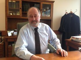 Superior Court Judge Ken Brown in his Manchester chambers.