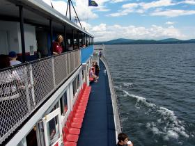 Passengers on the deck of the M/S Mt. Washington on Lake Winnipesaukee
