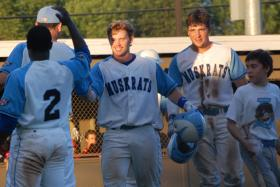 The 2013 Laconia Muskrats celebrate a victory at Robbie Mills Field. The team was in the New England Collegiate Baseball League's Championship Series in 2011.