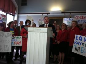 Sen. Andrew Hosmer speaks at a rally for the Paycheck Fairness Act, a New Hampshire bill that aims to bring pay for women in line with men.