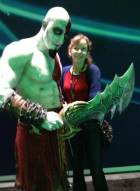 "Composer Winifred Phillips with a ""real life"" Kratos from God of War."