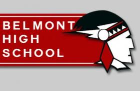 "Belmont High School's ""Red Raider"" logo, as it appears on the school's website."