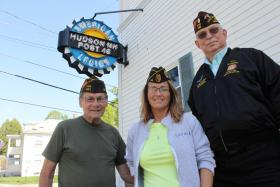 From left, Barry Palmer, of VFW Post 483, Valerie Harnadek, Commander of Hudson American Legion Post 48, and Nashua VFW member Lew Chipola, outside the Hudson American Legion Post.