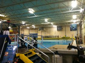 A pool at UNH used to test sonar has to be pumped twice daily through specialized sand-filters, because chlorine would interfere with the equipment it is used to calibrate.